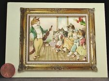 Cute Gold Framed Music Teacher Cats Kittens in Dresses Violin  Note Card- UNUSED