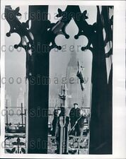 1952 Flagmen Hoist Union Jack Victoria Tower Parliament London Press Photo