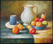 W ADAMS, Original Oil on Stretched Canvas, Pitcher & Fruit Still Life, Signed