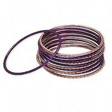 1584JU Bracelet Mix Set, Bangle, Anodized Aluminum, Pink & Purple, 12 Qty