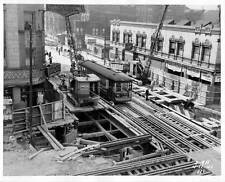 Photo. 1940-1. Chicago, Illinois Tram Tracks -  Construction State Street Subway