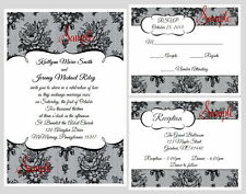 100 Personalized Custom Elegant Black Lace Bridal Wedding Invitations Cards Set