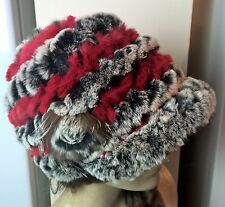 black white grey red real genuine rabbit fur knitted hat head warmer unisex