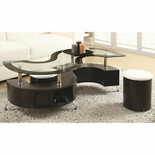 3PC S Shape Cappuccino Tempered Glass Top Coffee Table with Shelf Ottomans Set