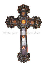 Western Style Wall CrossBrown Broken Wood Floral Carving Orange Fluorite Resin