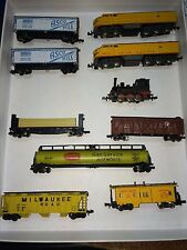 10 Vintage 70s N Scale Freight Train,7 Cars,3 Locomotives,RR,Arnold Rapido,Atlas