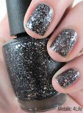 NEW! OPI Nail Polish Vernis METALLIC 4 LIFE ~ Silver Glitter Black Base