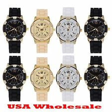 8 x New Assorted Color Women Fashion Gold Silicone Wrist Watch - Wholesale Lot