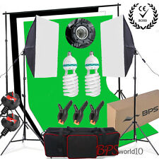 1250W Softbox Lighting Kit Studio Black White Green Backdrop Background Stand UK
