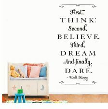 Wall Stickers custom colour think believe dream dare decal decor Nursery name