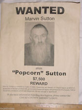 BIG 11 x 14 Marvin 'Popcorn' Sutton Wanted Poster, moonshine, moonshiner