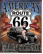 Americas Mother Road Route 66 Large Vintage Weathered Garage Metal Tin Sign 1957