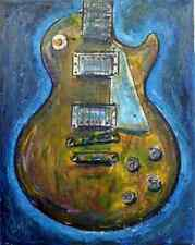 Les Paul Gibson Guitar painting canvas original Signed Crowell USA OOAK COA art