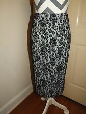 Courtenay Women's Skirt 100% polyester with black lace overlay size 6 Pencil NWT