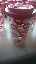 Insulated Plastic Tumblers Party Favor Cute Pink Kisses *LOT of 6*
