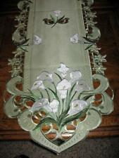 "Calla Lily Embroidered Lacy Table Runner Dresser Scarf Sage Green 68""x 14"""
