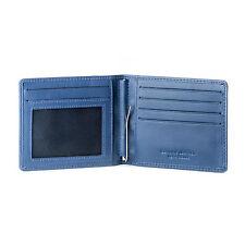 DV Portafoglio uomo fermasoldi in pelle BLU con molla e porta carte di credito