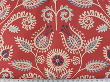 Drapery Upholstery Fabric Leaves & Flowers - Ivory, Navy, Sky Blue on Red