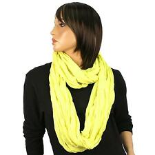 Retro Solid Long Wide Loop Circle Chain Eternity Infinity Scarf Neon Yellow