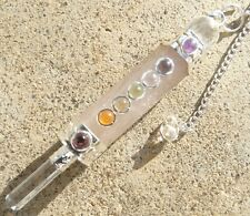 Rose quartz & quartz faceted chakra wand healing dowsing pendulum 3 mm cabochons