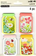 MICHAELS Recollections SPRING MASON JARS SHAKERS Stickers FLOWERS BEES BUTTERFLY