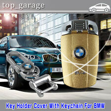 Golden Car Remote FOB  Key Holder Cover Case /w Keychain For BMW X1/X3/X5 M3 M5