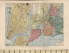 1932 MAP ~ NEW YORK CITY PLAN ~ SHOWING PUBLIC BUILDINGS THEATRES HOTELS etc