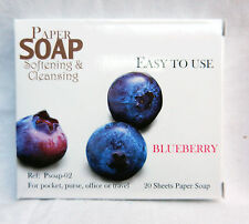 Handbag / Pocket / Travel Soap - Soap Leaves in Carry Case - Blueberry Scent