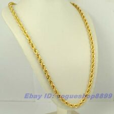 "23.4""7mm65g REAL RARE MEN 18K YELLOW GOLD GP ROPE NECKLACE SOLID FILL GEP CHAIN"