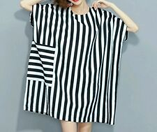 New Womens Vertical Black & White Striped Loose Large Pocket Dress. OS