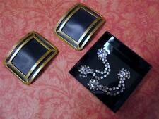 Vintage Retro Lot  Shoe Clip Sparkly Rhinestone Clips  &  Rectangular Goldplate