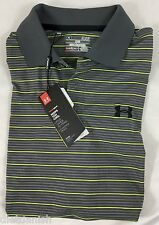 Under Armour MEN'S Athletic Golf Polo Loose Grey Bright Yellow Stripes Size XL
