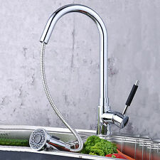 Kitchen Spout Single Handle Sink Chrome Finish Faucet Pull Down Spray Mixer Tap