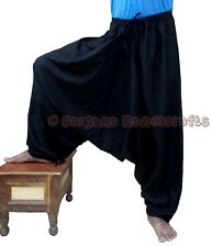Men's Black Cotton Harem Pants Yoga Dance Women's Genie Trouser Aladdin Hippie