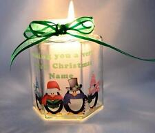 Penguins Very Merry Christmas Stained Glass Personalised Candle Gift X4 Candles