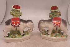 Staffordshire Pottery Companion Pair of Elephant Spill Vases