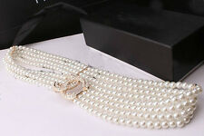 New Hot Fashion  Four Chain Pearl Waist belt Elastic Stretch Casual Waistand