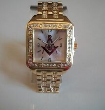 GOLD FINISH WITH RED  MASONIC SIGN BRAND NEW  ELEGANT FASHION WATCH