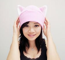 Pink pussy fleece Kitty Cat ear beanie hat cosplay anime manga goth punk ski