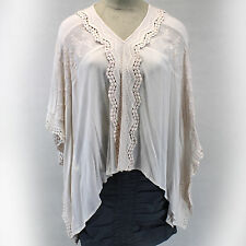 NEW NWT XCVI Plus Size Lagenlook Baby Pink Dolman Sleeves Poncho Style Blouse 2X