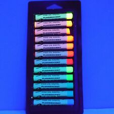 Fluorescent Oil Pastel Crayons Set of 12 Neon Colors, Black Light Oil Pastels