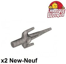 Lego - 2x minifig arme weapon sai couteau knife argent/flat silver 98139 NEUF