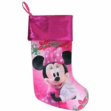 Disney Pink Minnie Mouse  Sequin Christmas Stocking Decoration Home Decor