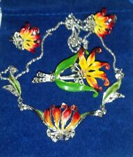 Vtg Enamel Marcasite Lily Flower Necklace Earring Pin Brooch Parure Set Mid Cent