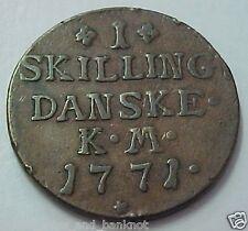 Denmark : 1771, 1 Skilling Danske , Christian VII- Fine