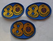 UK GIRL GUIDES: 1998 - 80 YEARS OF GUIDING IN ORPINGTON BADGE/PATCH x 3