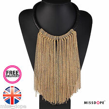 NEW MAXI GOLD LONG CHAIN TASSEL NECKLACE CHOKER WOMENS LADIES CHUNKY BIB CHARM