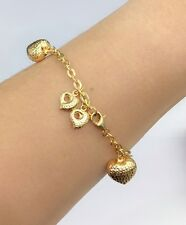 18k Solid Yellow Gold Cute Heart Charms Italy Bracelet,7 Inches, 6.26 grams