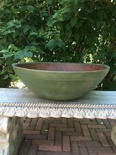 Antique Primitive Large Size Beehive Turned Bowl With Old Green Paint