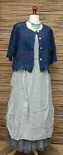 LAGENLOOK LINEN AMAZING BEAUTIFUL LACE QUIRKY BOHO JACKET*NAVY*SIZE L-XL